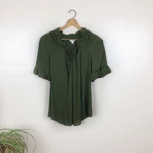 [odille] Anthropologie Green Ruffle Blouse